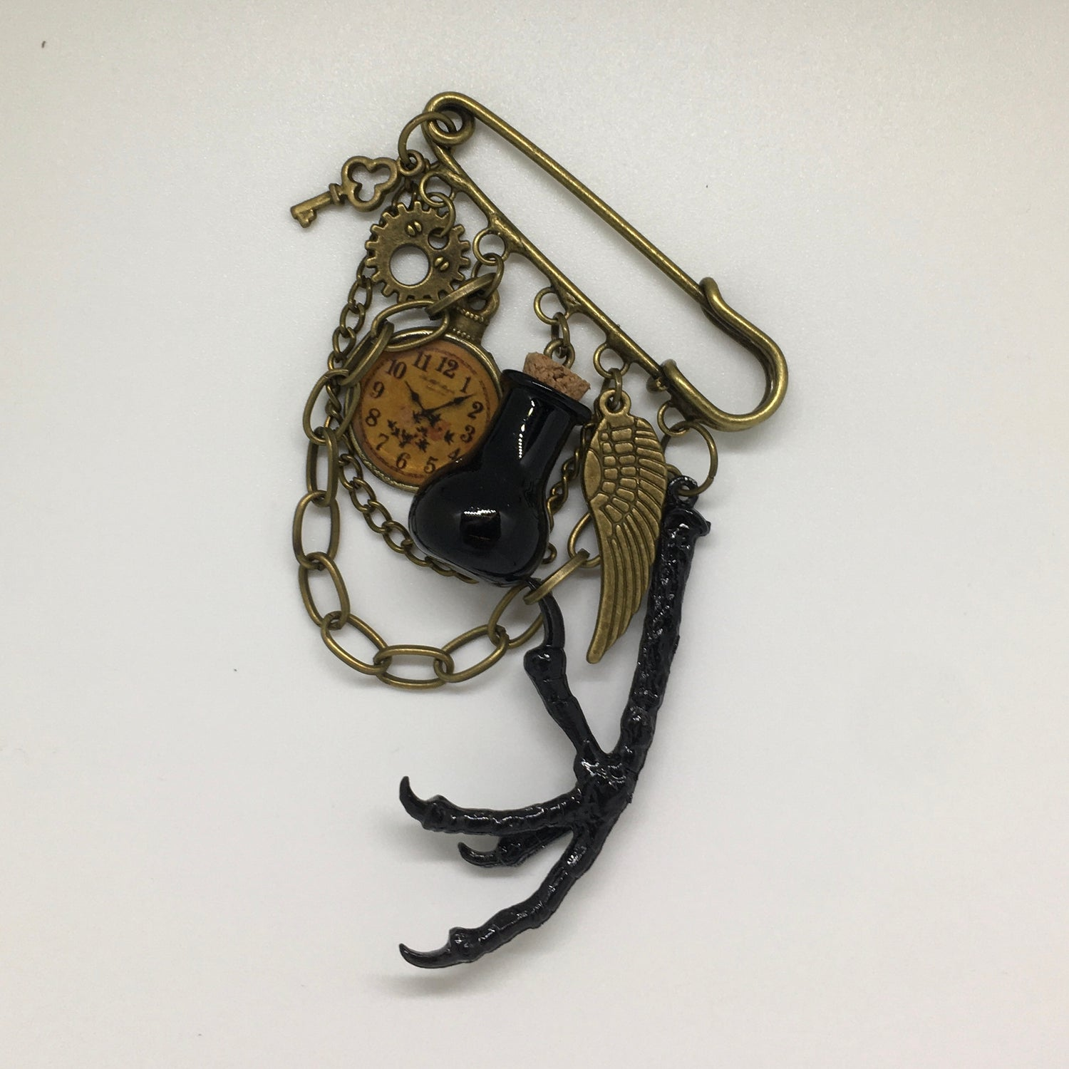 Military style Raven Claw steampunk kilt pin brooch