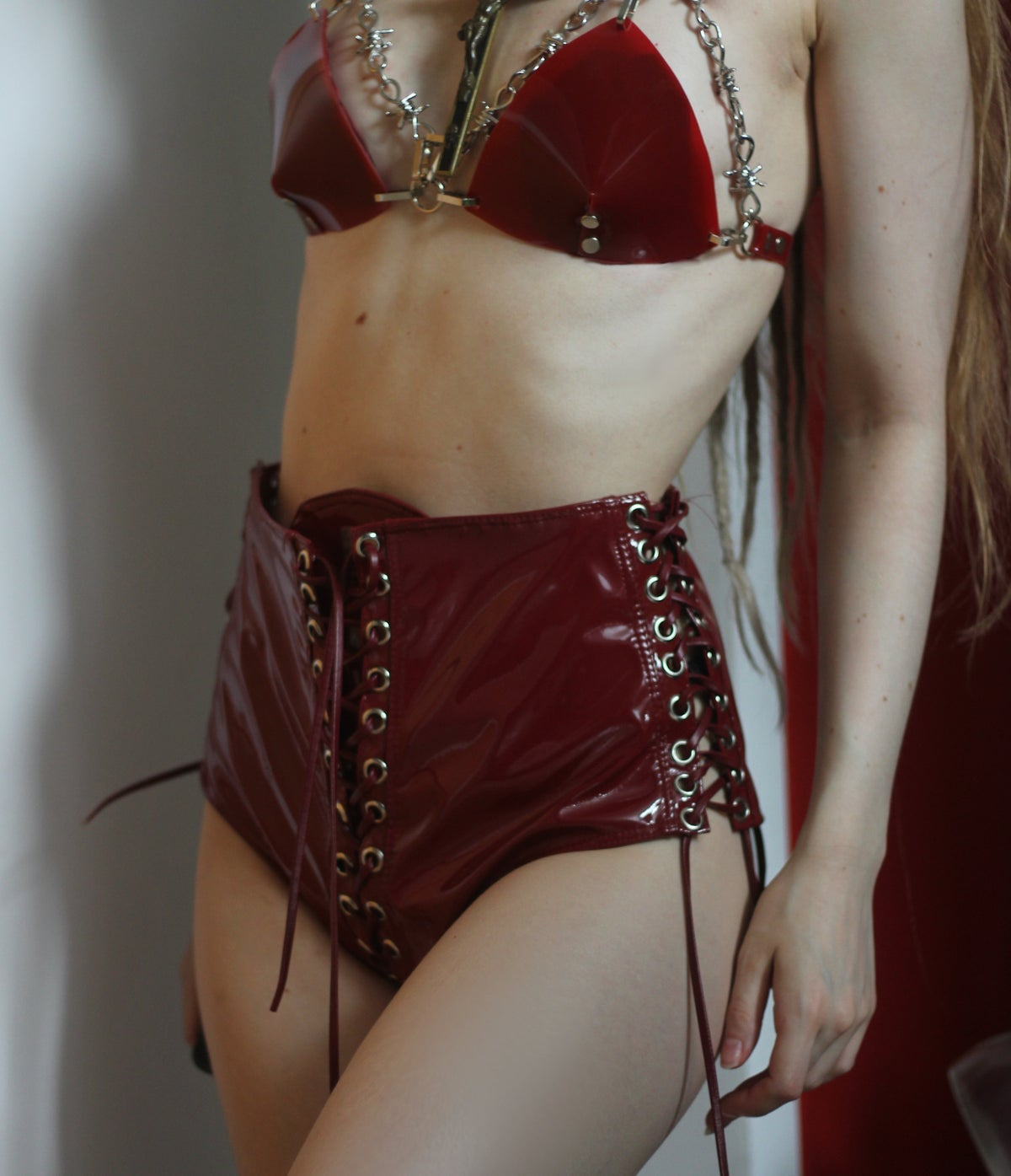 Image of MADE TO ORDER - KULTCHEN INFINITY LACE UP HOTPANTS IN OXBLOOD (Size XS-XL)