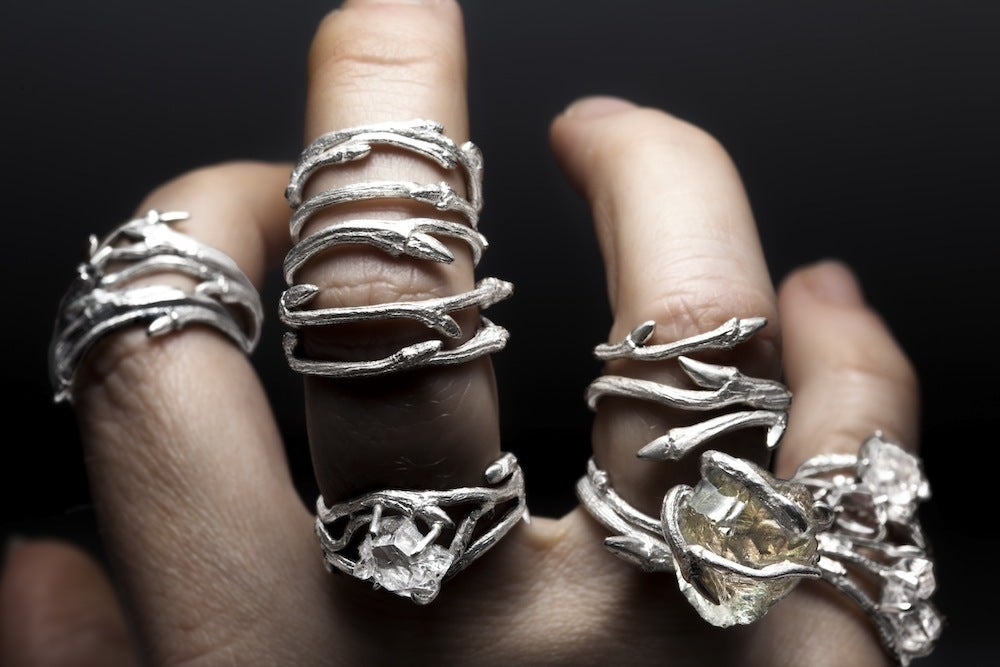 Image of Dark Elvish Twine<br>Silver Twig Ring