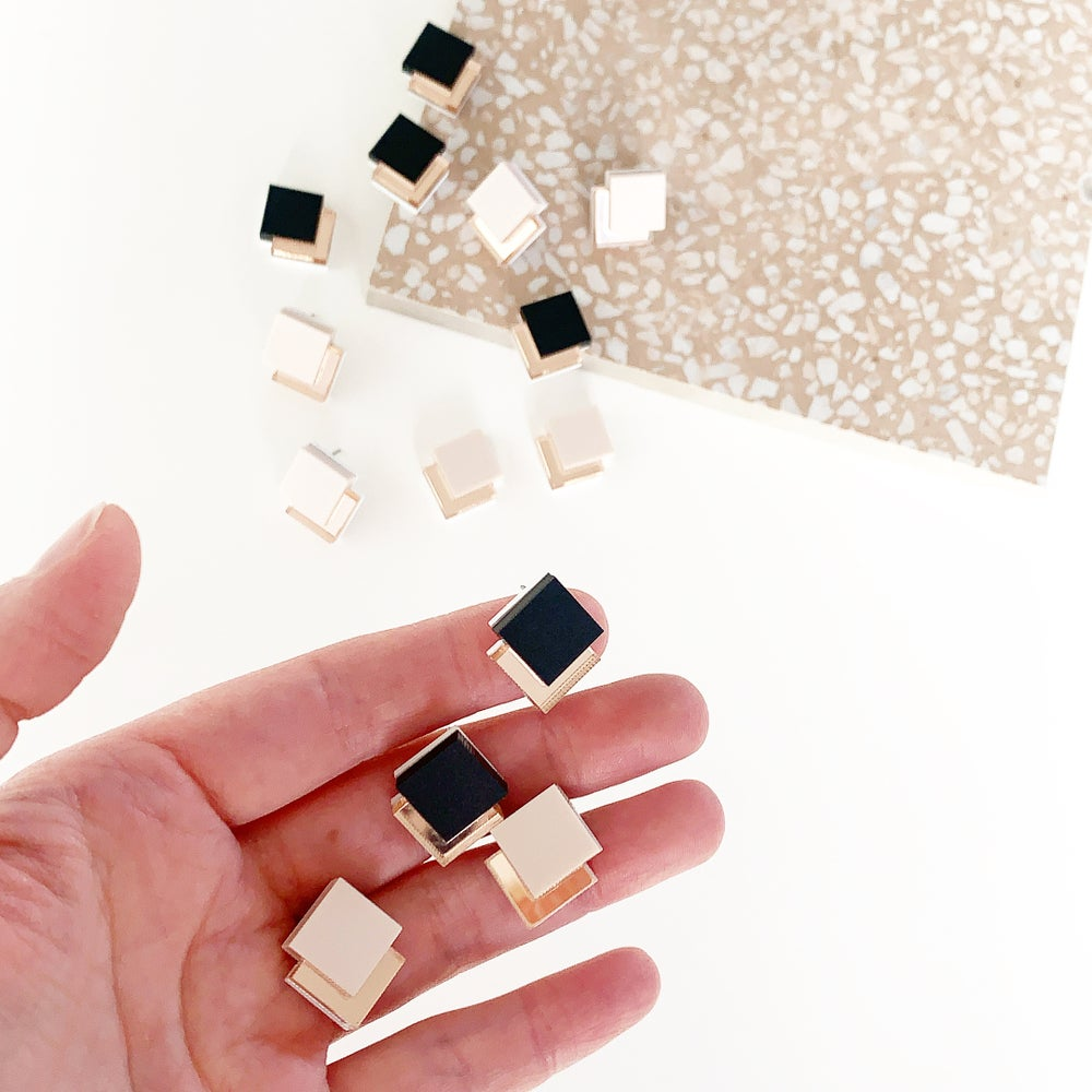Image of Rose Gold Deco Studs