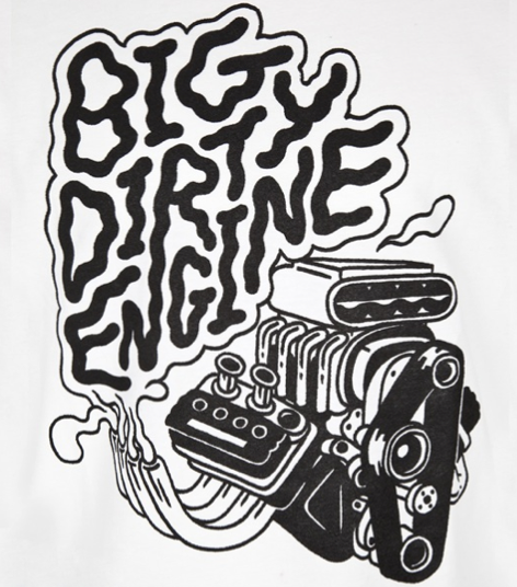 """Big Dirty Engine"" print T-Shirt for JaguarShoes Collective"