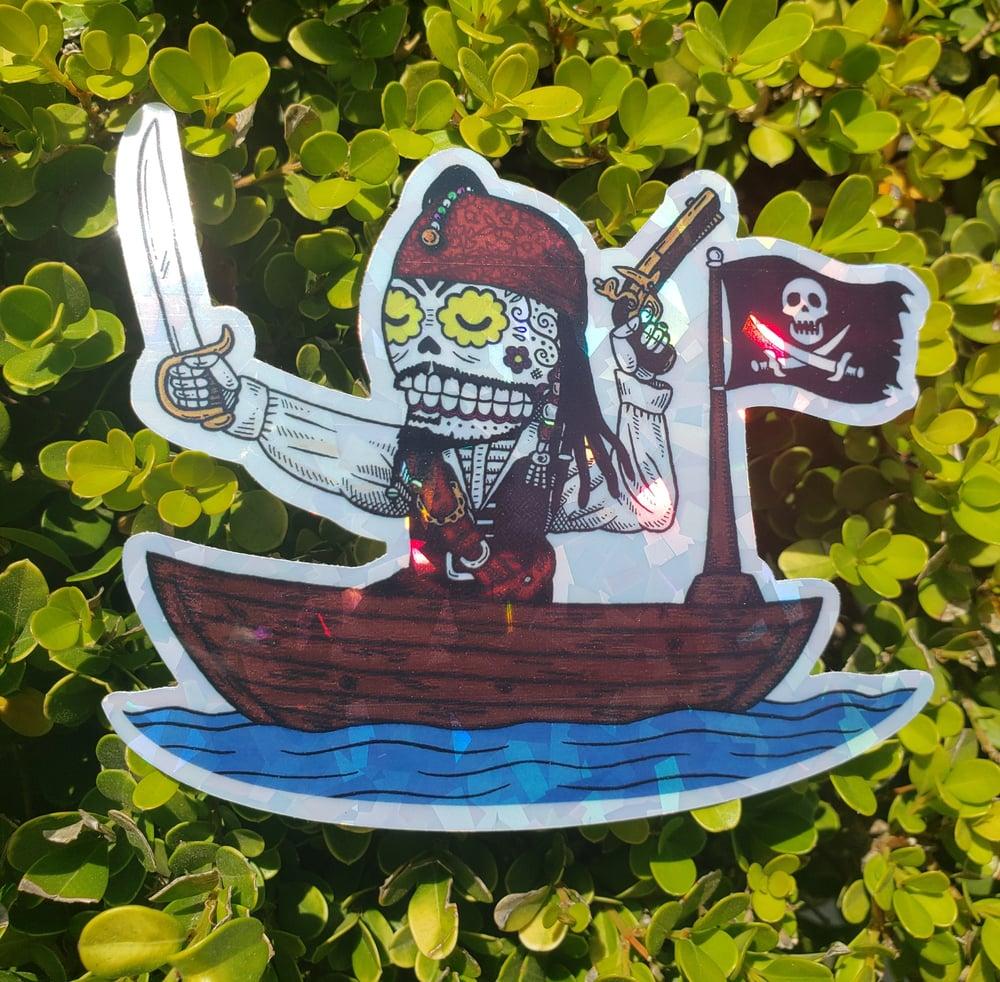 Pirate Calavera Holographic Sticker