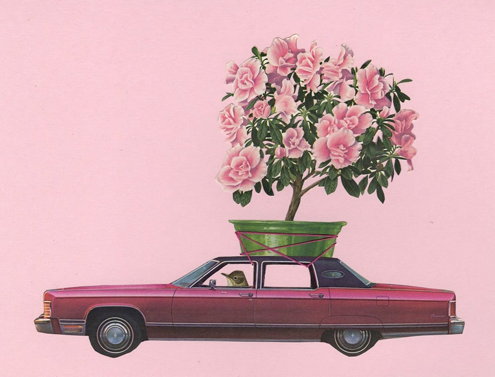 Image of Peewee paints the town pink. Limited edition collage print.