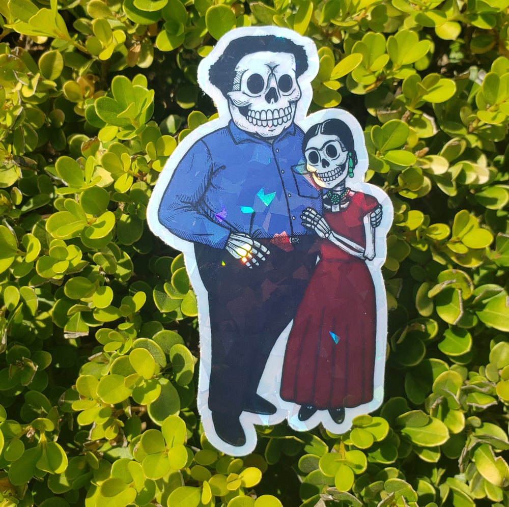 Frida and Diego Holographic Sticker