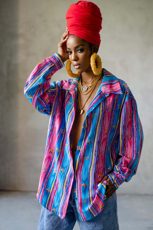 Image of Vintage Amina Cotton Candy Butterfly Stripes Blouse