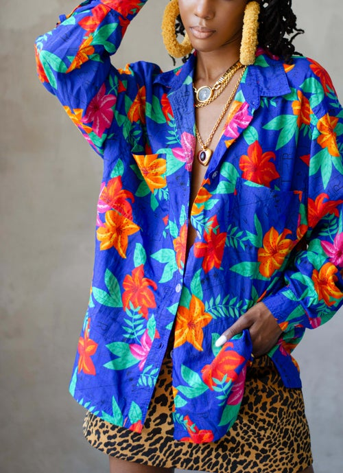 Image of Vintage Adena Bold Colorful Map & Flowers Blouse
