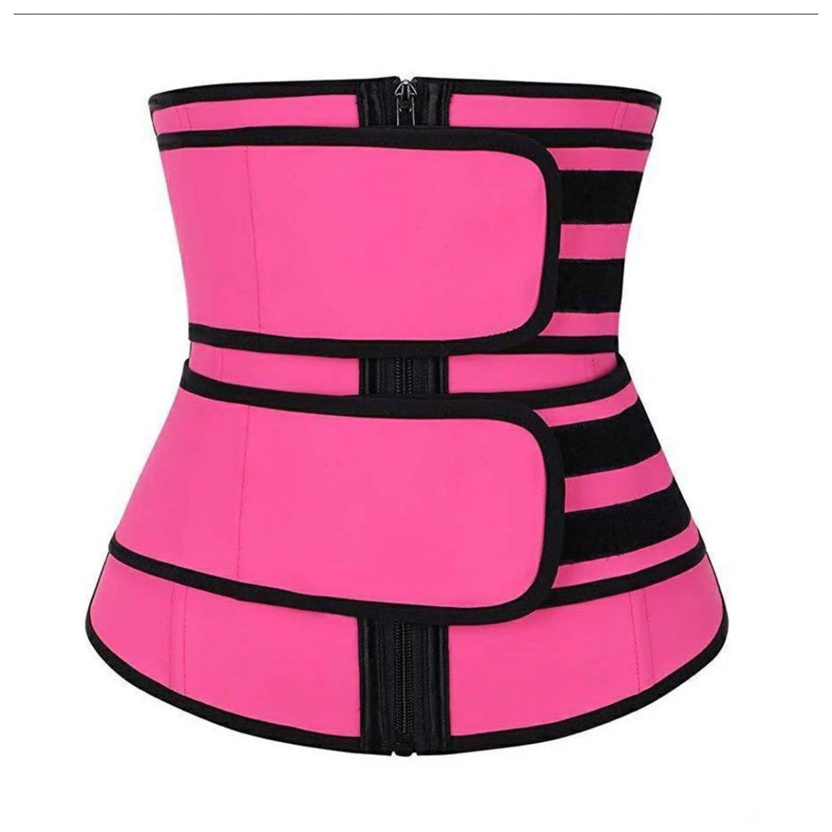 Women Waist Trainer - Double Straps - Pink/Black