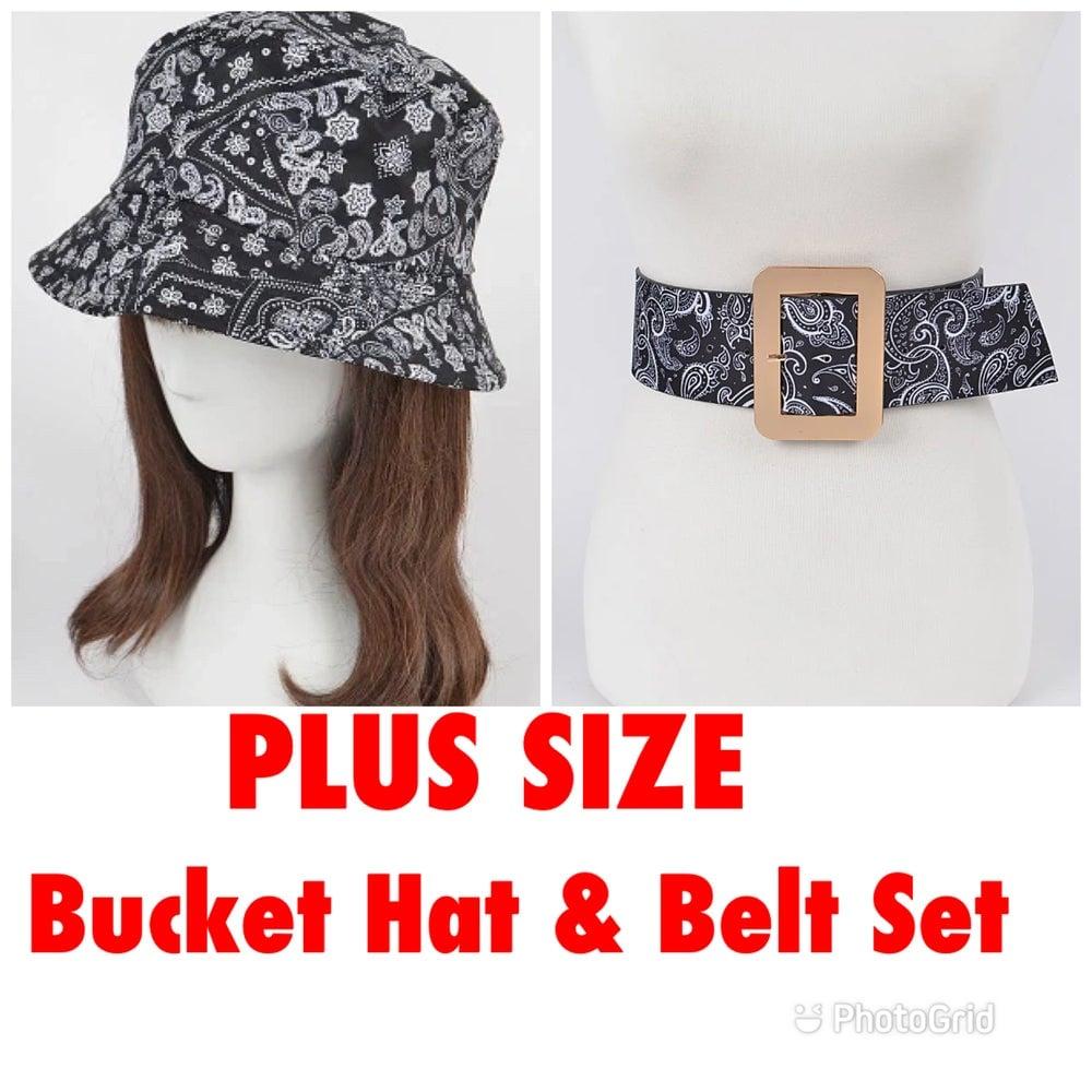 Image of PLUS SIZE BLACK BANDANA PRINT BUCKET HAT & BELT