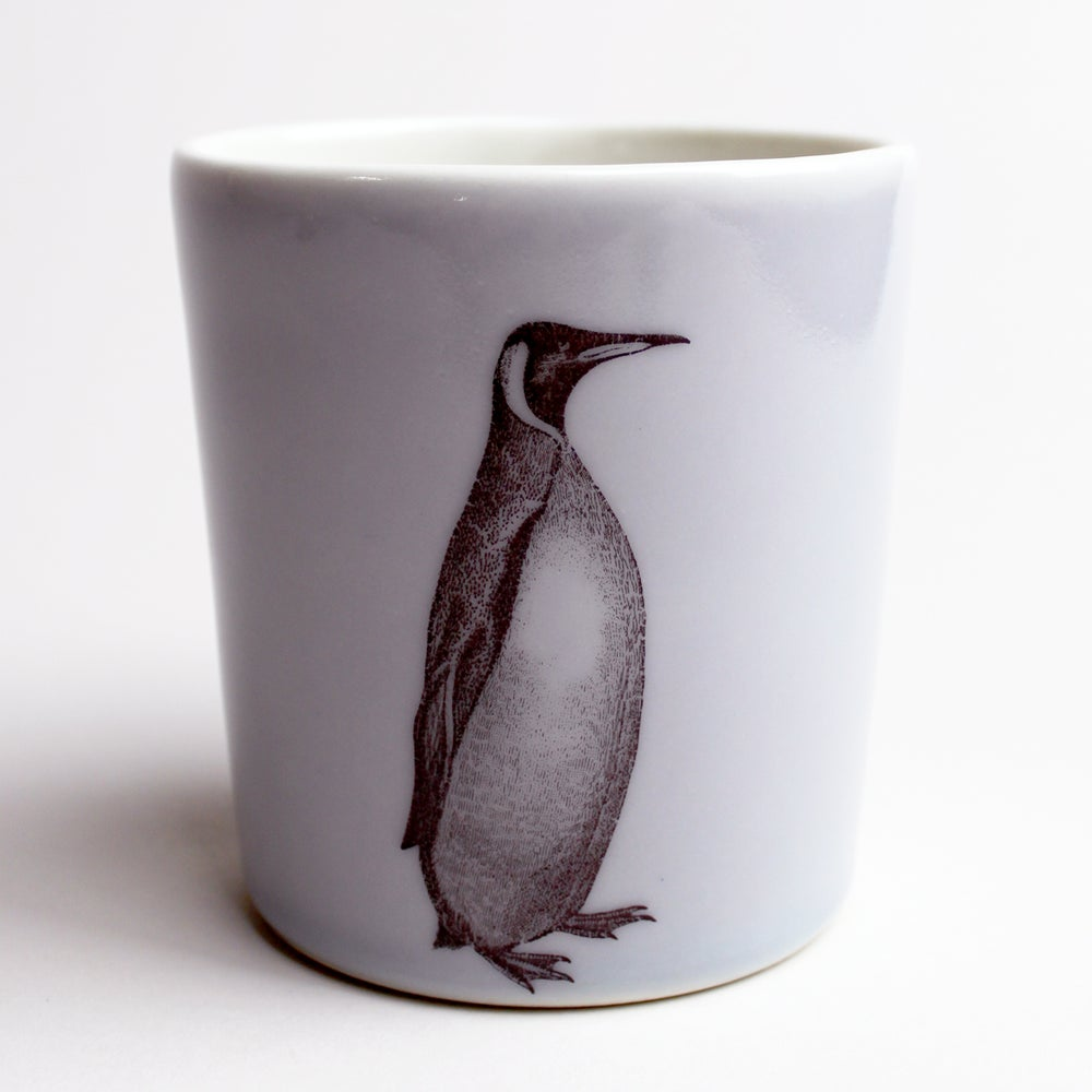 Image of 16oz tumbler with penguin, lilac