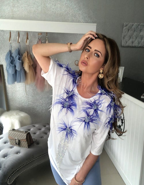 Image of Oversized Blue Feather Crystal T-shirt