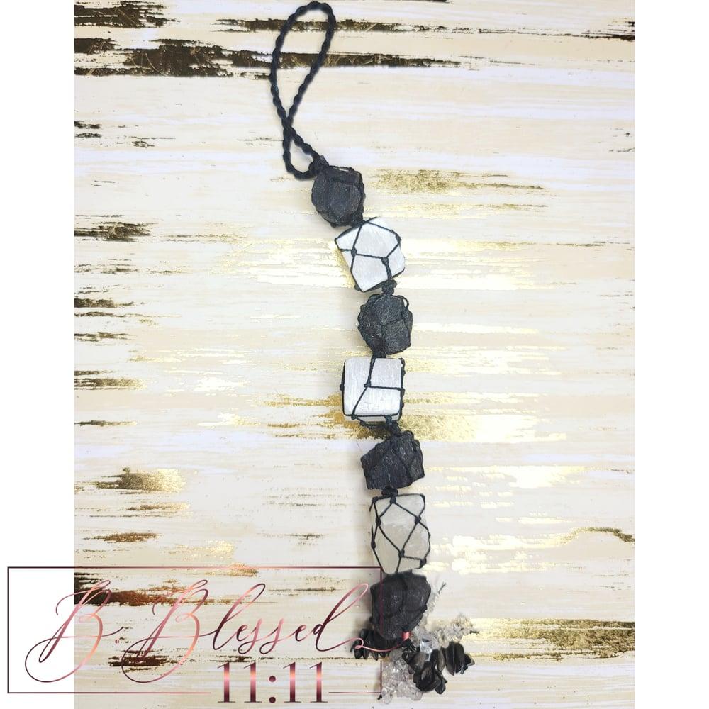 Image of Selenite & Black Tourmaline Gemstone Wall Hanging