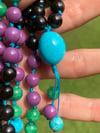 81 Bead Shungite Kingman Turquoise Variscite Phosphosiderite Hand Knotted Gemstone Mala, 3/4 Mala