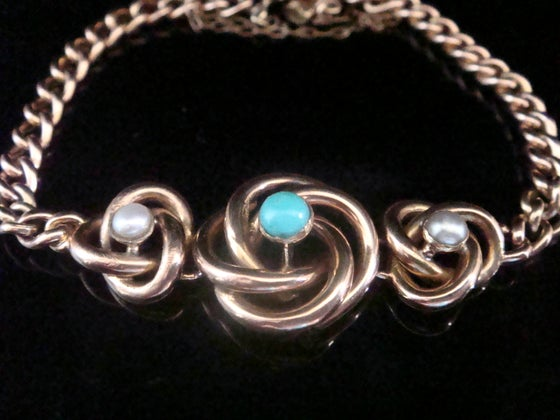 Image of Victorian 9ct rose gold lovers knot turquoise and pearl curb bracelet 8.2g