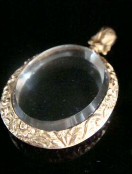 Image of Victorian 9ct ornate yellow gold picture frame glass locket