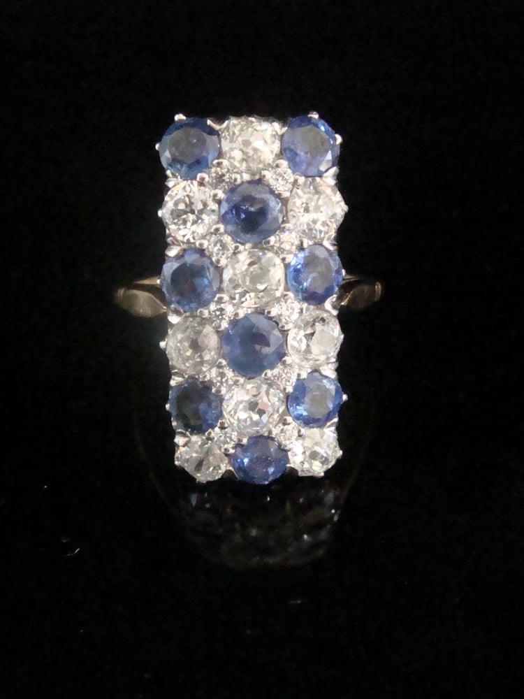 Image of EDWARDIAN 1920S 18CT PLATINUM ART DECO PAVE SAPPHIRE OLD CUT DIAMOND 1.90 RING