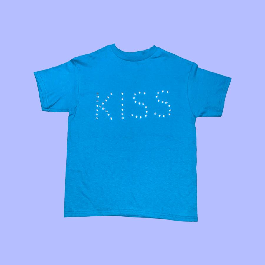 Image of Studded Kiss Tee Teal (NEW)