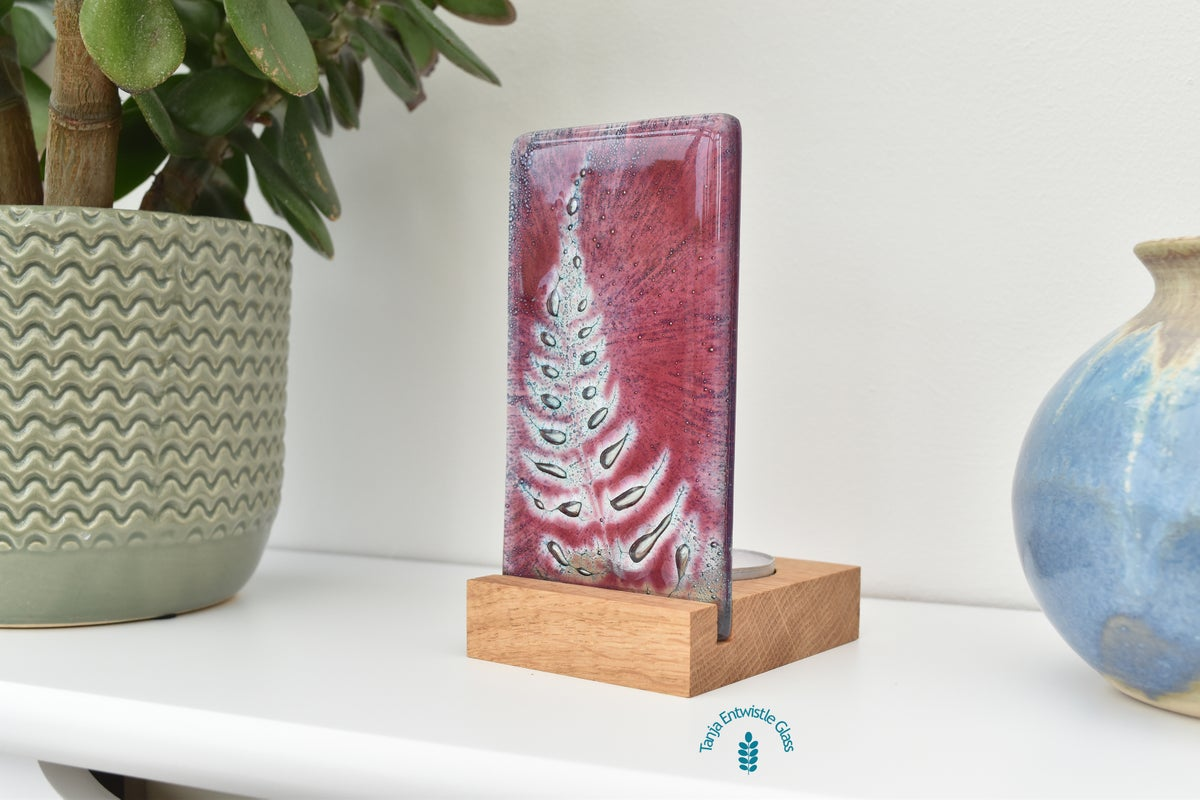 Image of Pink Fern Frond Fused Glass Single T-Light