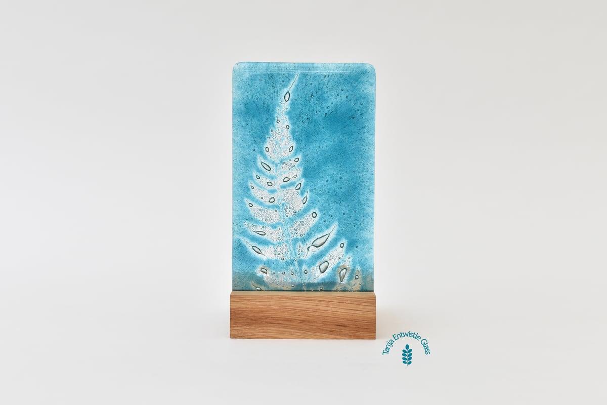 Image of Aqua Fern Frond Fused Glass Single T-Light