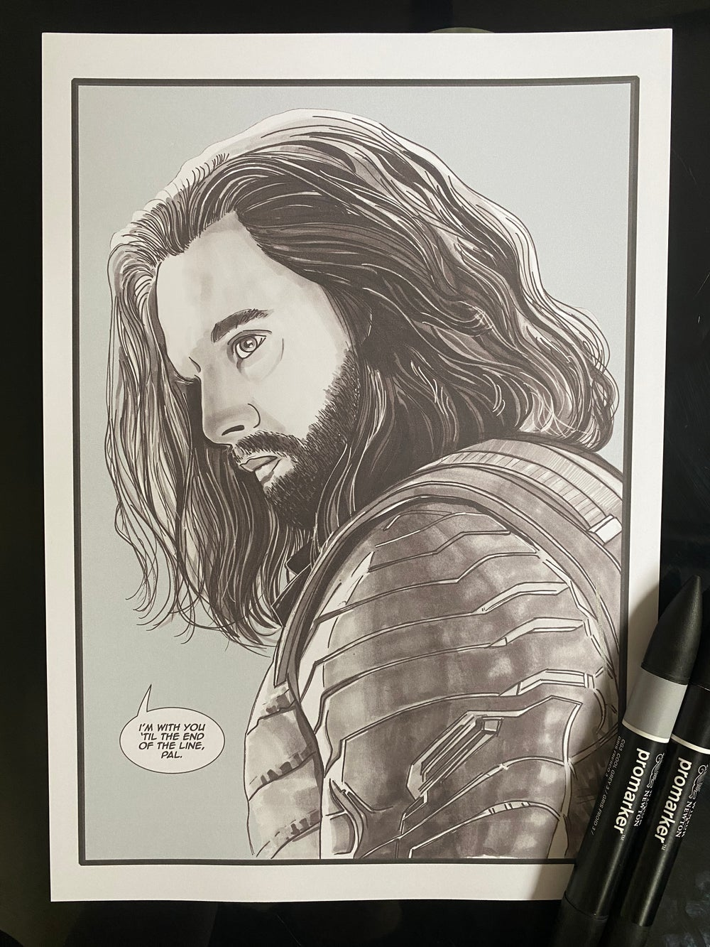 """Image of Bucky/Winter Soldier Art Print A4 (12""""x8"""") Marvel"""