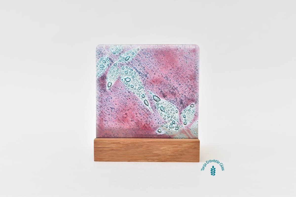 Image of Jasmine Leaf Fused Glass Single T-Light