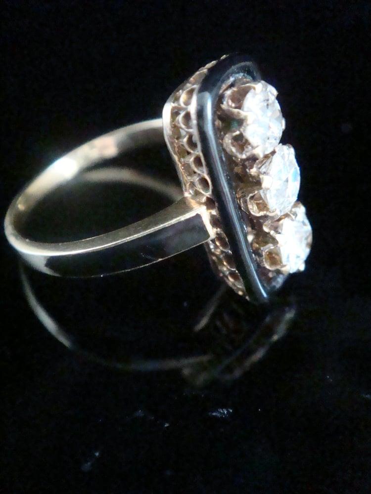 Image of VICTORIAN 18CT YELLOW GOLD OLD CUT DIAMOND 1.20CT 3 STONE BLACK ENAMEL RING
