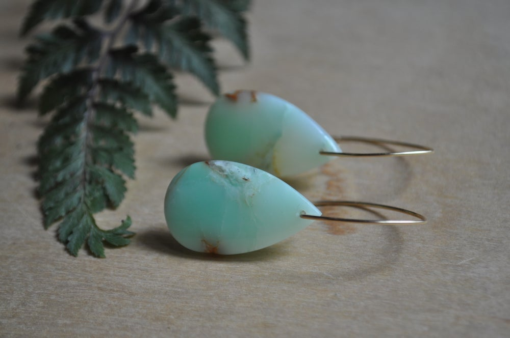 Image of One of a Kind Chrysoprase Teardrop Dangles