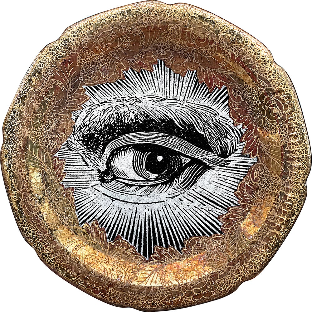 Image of Lover's eye A - #0753 - ENGRAVED GOLD DELUXE EDITION -Vintage German porcelain plate