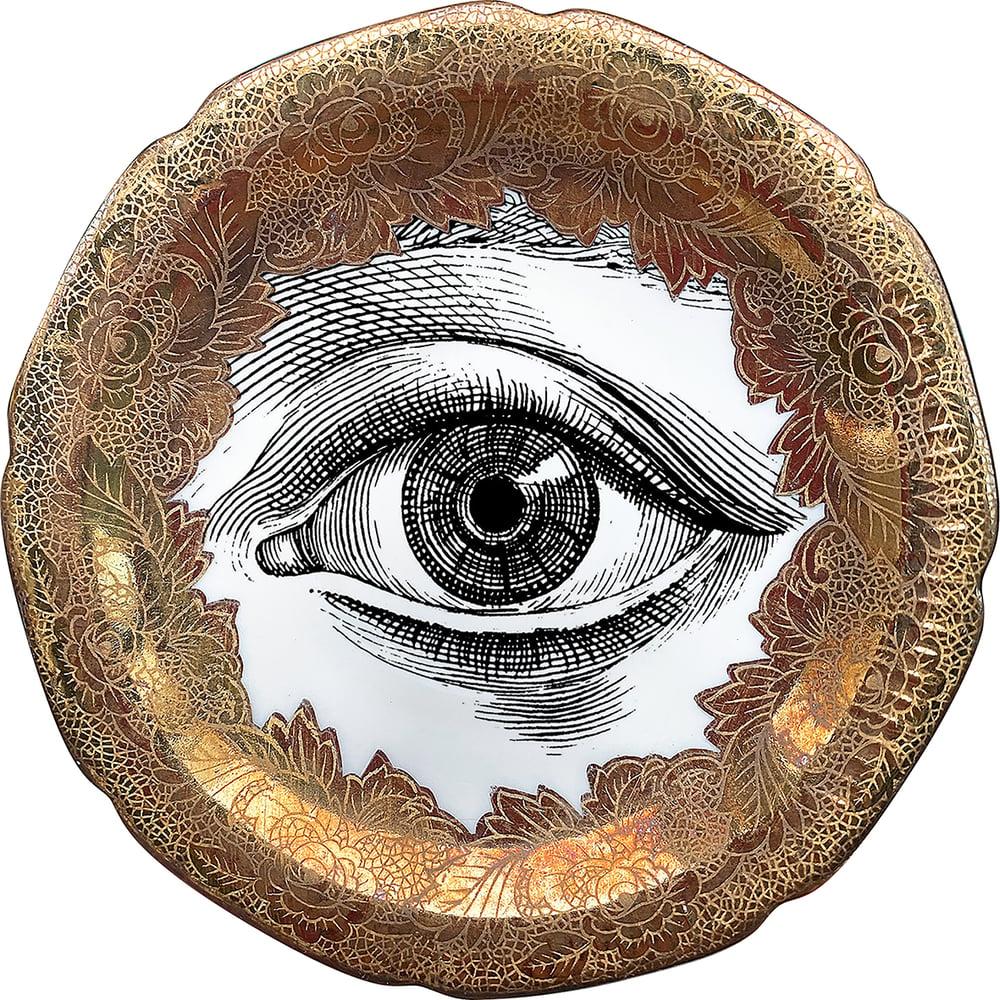 Image of Lover's eye D - #0753 - ENGRAVED GOLD DELUXE EDITION -Vintage German porcelain plate