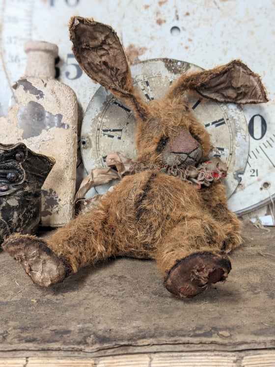 """Image of 14"""" - """"Beat-up Bunny"""" a Big Old Frumpy Primitive style Mohair Rabbit by Whendi's Bears -"""