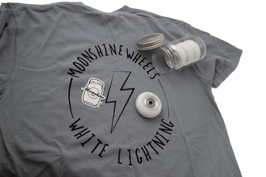 Image of  60mm / 90a - White Lightning V.2 - Twincam ILQ9S Plus Bearings - Mason Jar & Shirt