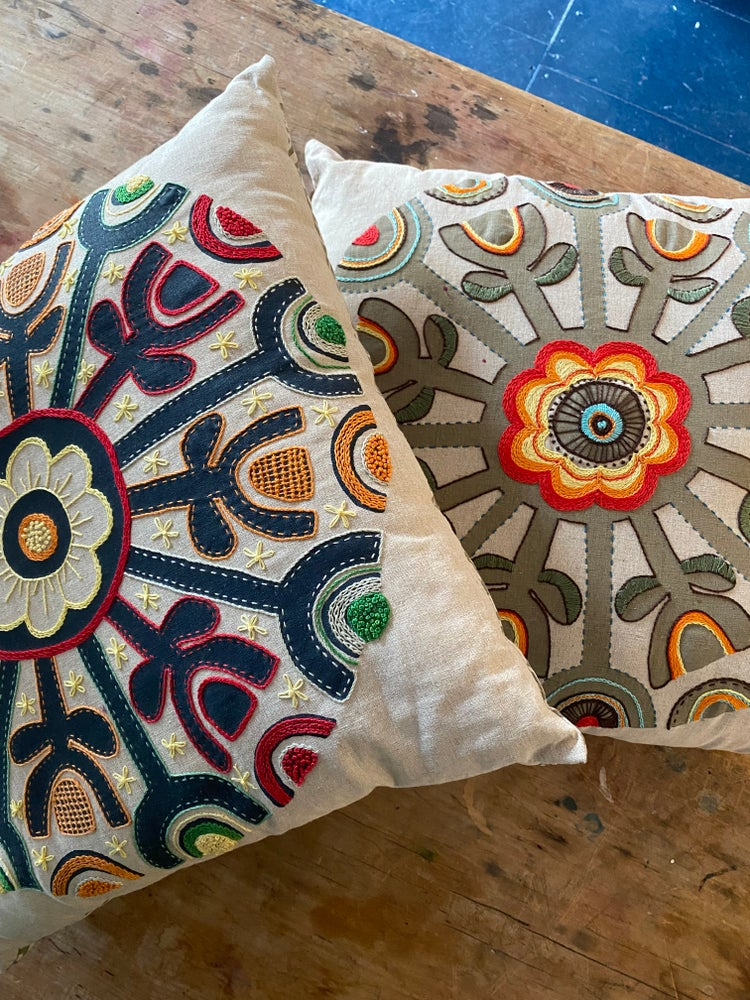 Image of Hand printed linen cushion cover..ready to stitch!