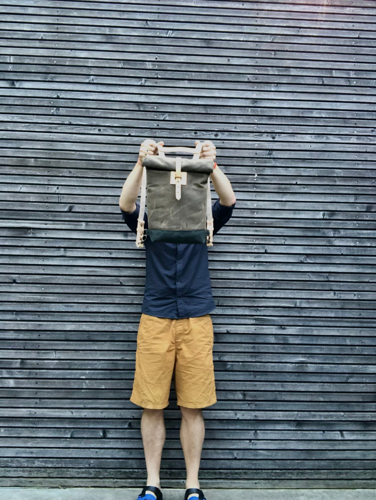 Image of Daypack Small waxed canvas backpack / Hipster Backpack with rolled top and leather shoulder straps