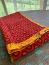 Handmade table runner with ShweShwe cloth from the Eastern Cape