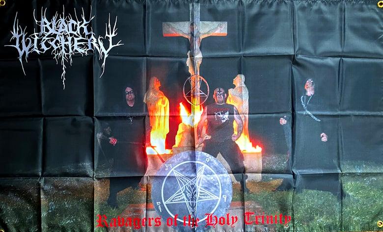 "Image of Black Witchery  "" Grave Desecration "" Flag / Tapestry / Banner"