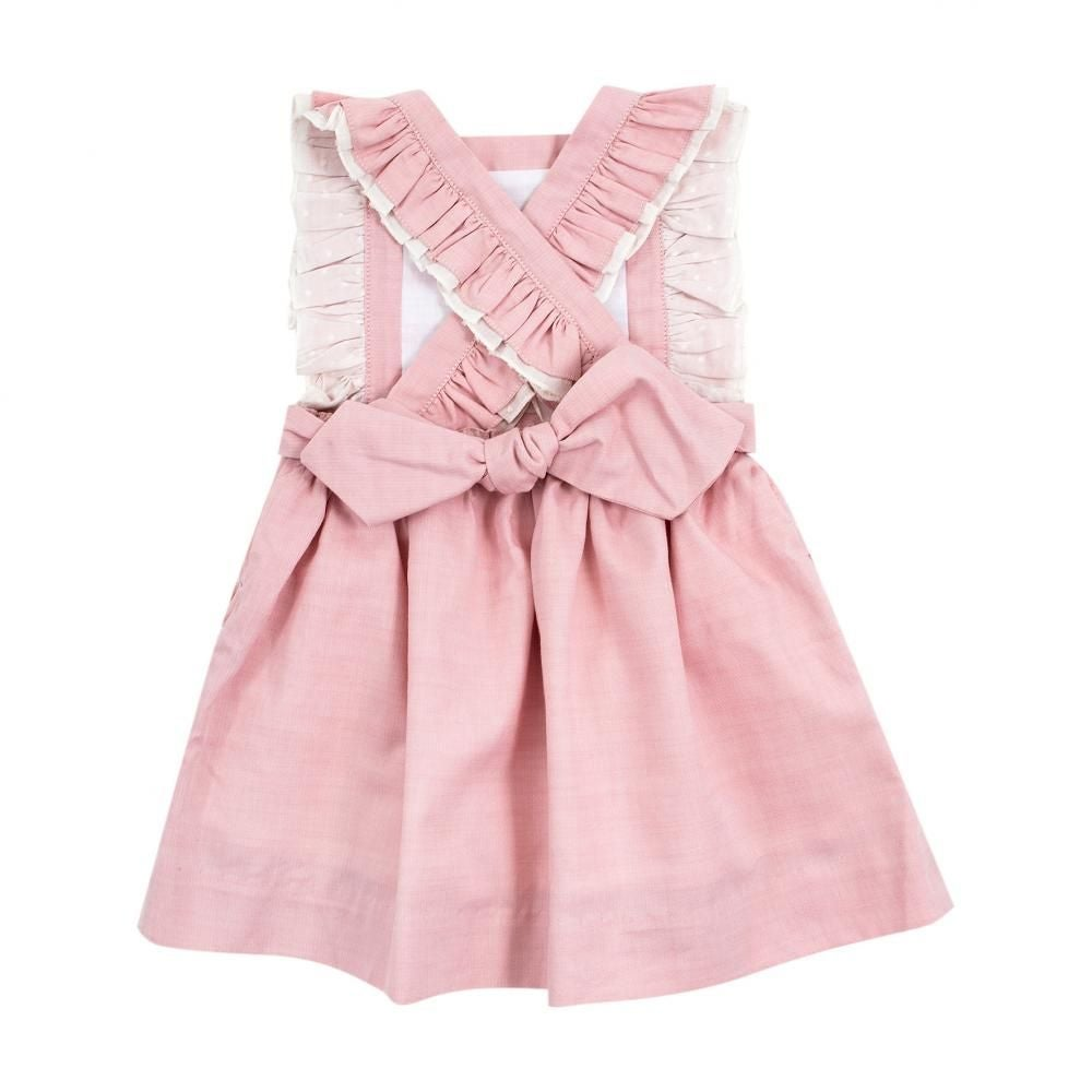 Image of Pink Linen Embroidery Dress