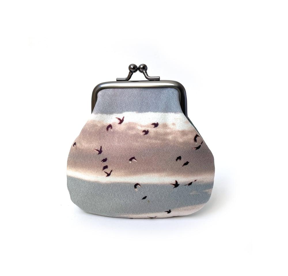 Image of Birds, velvet kisslock coin purse
