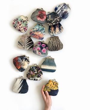 Image of Lichen, velvet kisslock coin purse