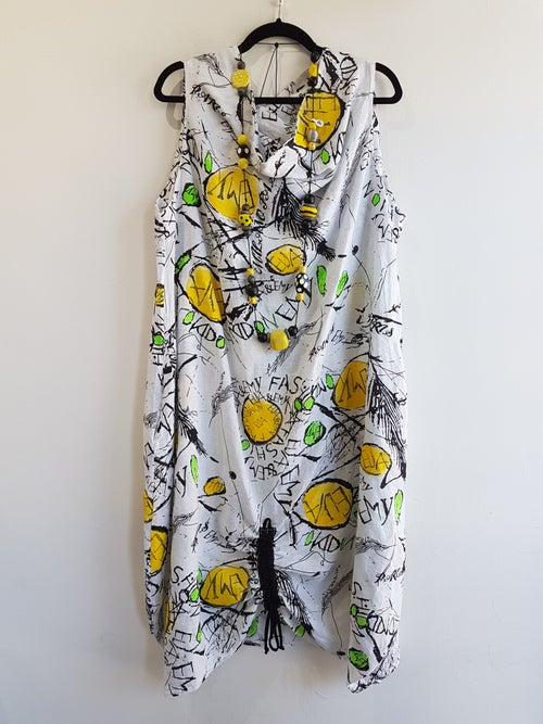 Image of summer linen dress, hand painted