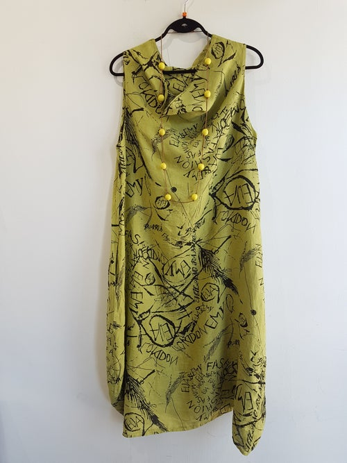Image of green summer dress, graffiti print