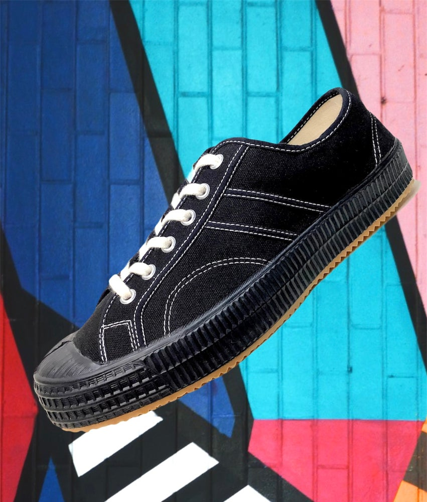 Image of VEGANCRAFT black  canvas lo to vintage sneaker shoes made in Slovakia