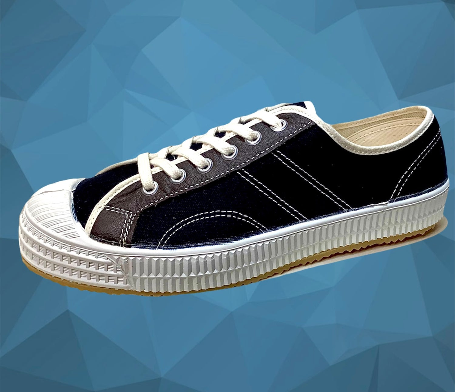 Image of VEGANCRAFT vintage lo top black canvas sneaker shoes made in Slovakia