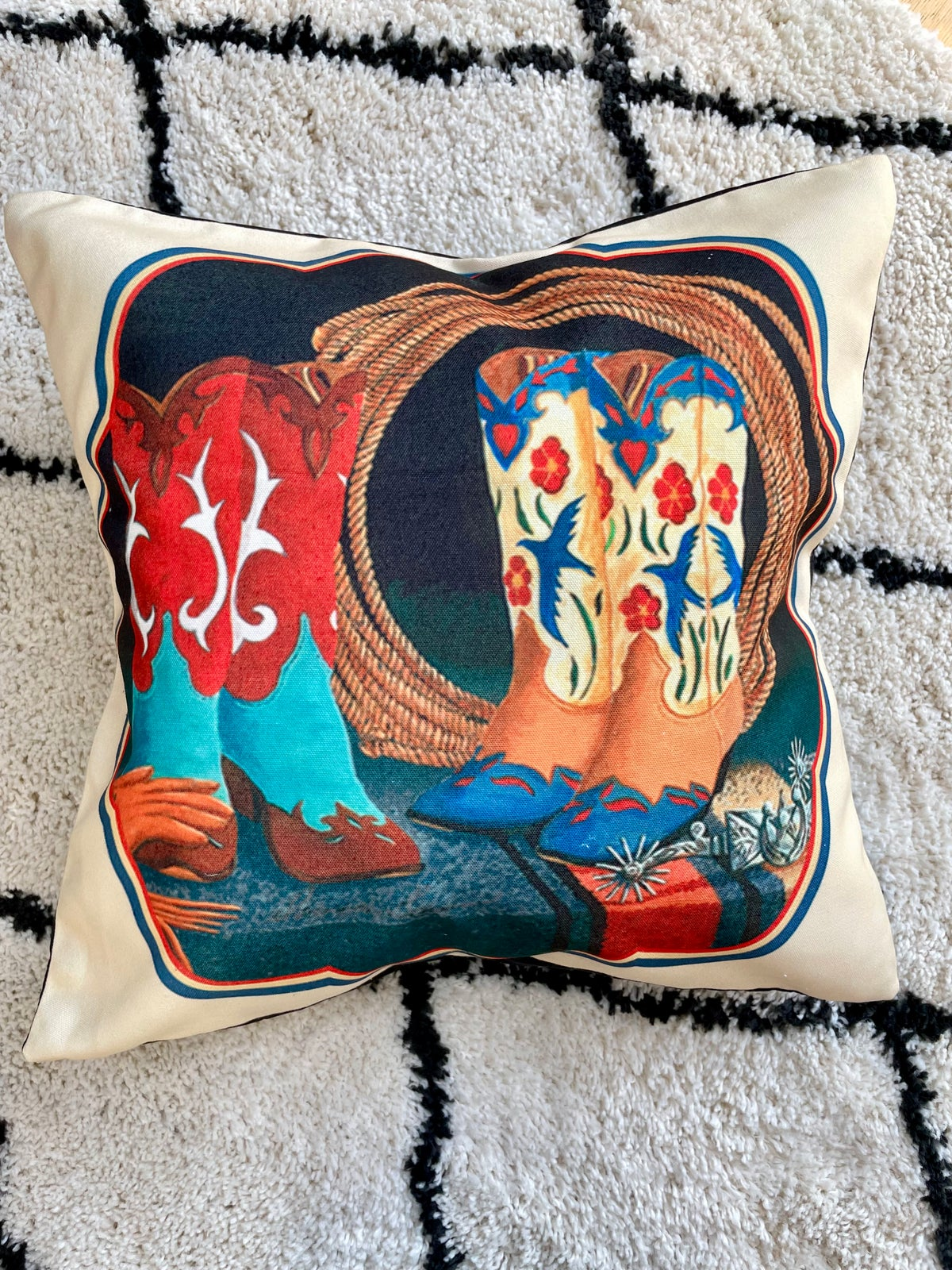 Image of Cowgirl Boots & Rope Cushion Cover