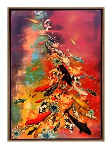 Image of Original Canvas - Koi on Crimson/Turquoise/Ochre - 100cm x 70cm