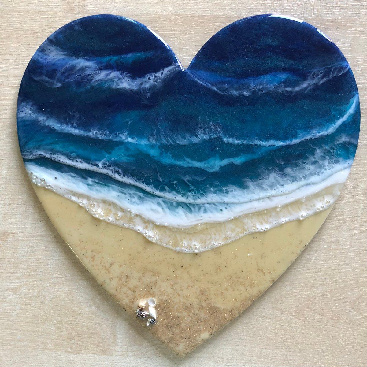 Image of Seascape Ocean Heart with brass hanger (B)