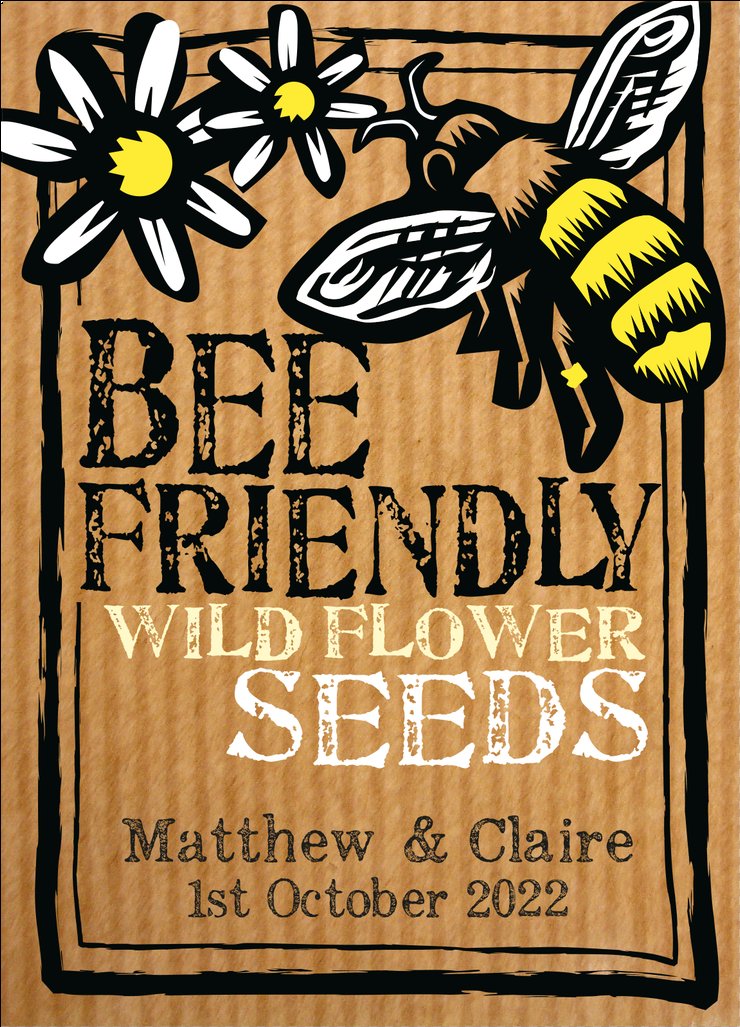 Image of 50 Personalised Wild Flower Wedding Favours - Bee or Butterfly (105.00 including VAT)
