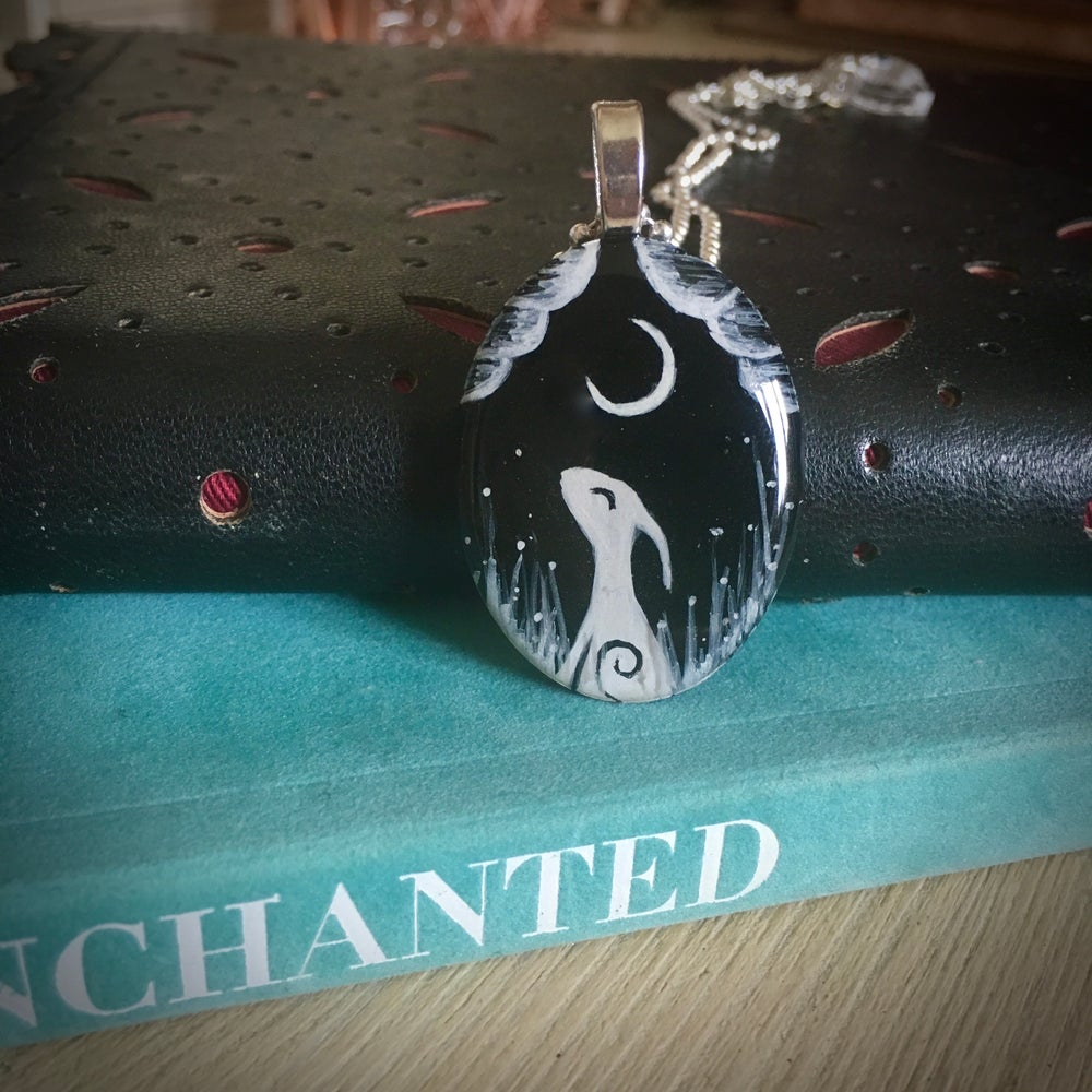 Moon Gazing Hare Resin Hand Painted Pendant - Black Oval
