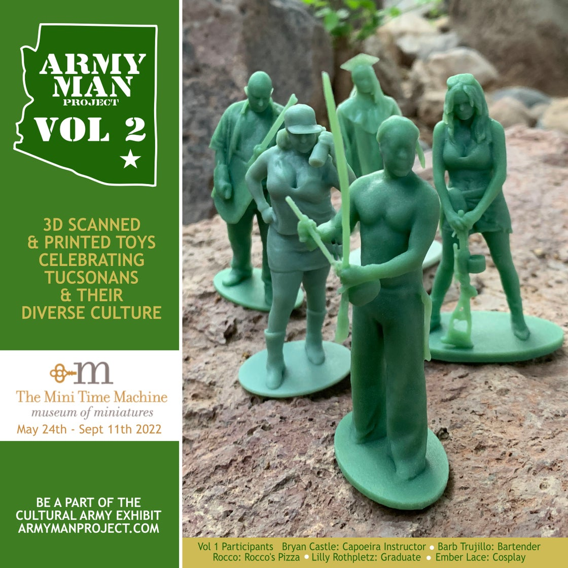 """Image of 4 people Armyman scan session & 3.25"""" figures"""