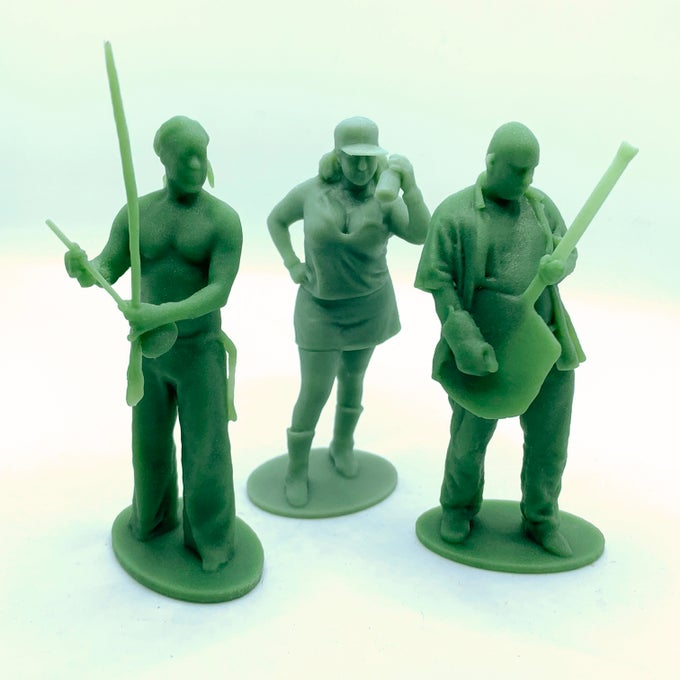 """Image of 3 people Armyman scan session & 3.25"""" figures"""