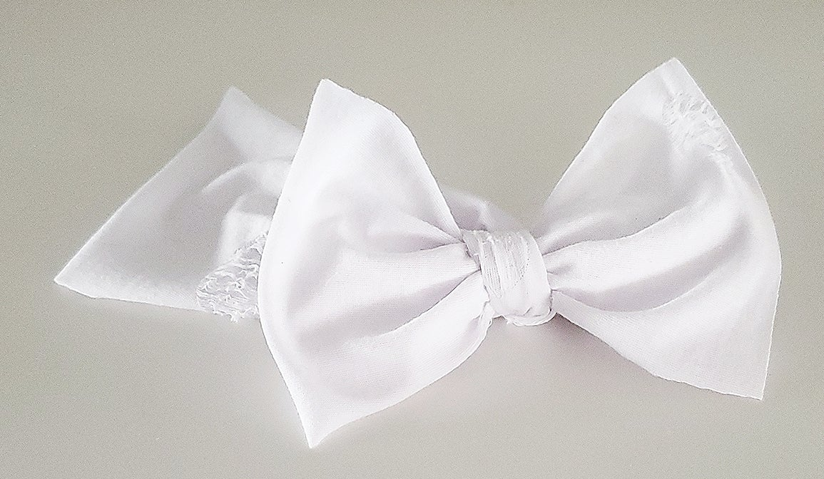 Image of White distressed headwrap bow