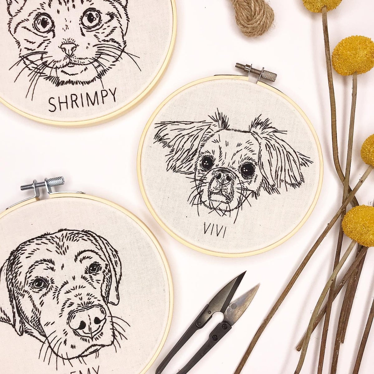 Stitch Your Pet! - Custom Pet Portrait Hand Embroidery PDF PATTERN ONLY